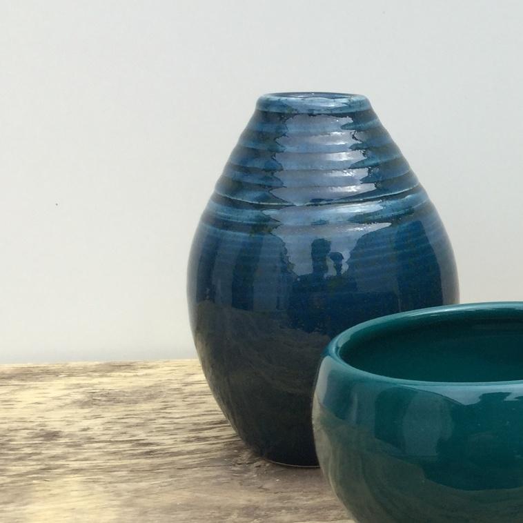Vase, 9568 Blaugrün gesprenkelt