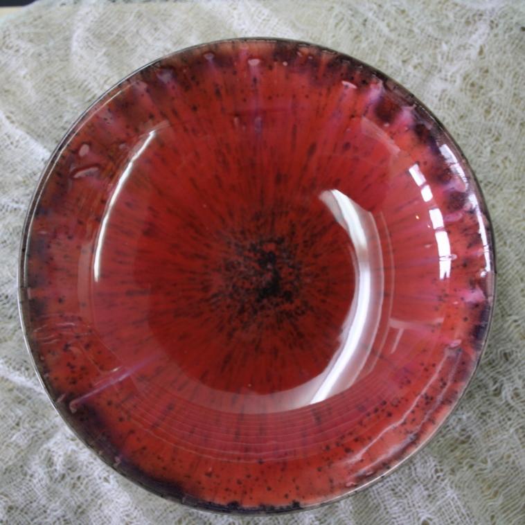 Schale, 9605 Rot gepunktet